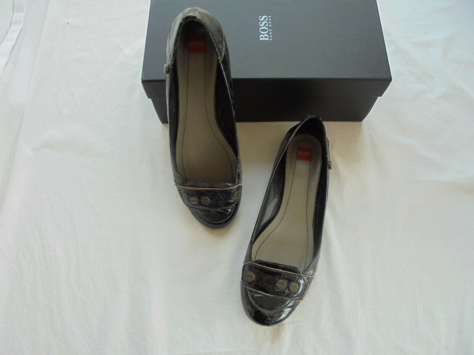 Original Hugo Boss Lackleder Ballerinas Pumps NP:  Designer Schuhe Pumps Ballerinas Gr. 38 309699