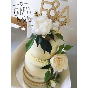Hand-Made-Personalised-INITIALS-WITH-LEAVES-Wooden-Name-Cake-Topper-WEDDING