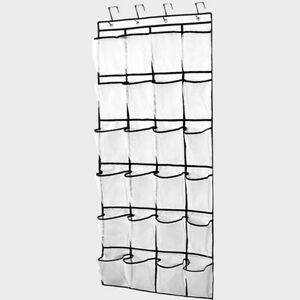 Details About Over The Door Shoe Organizers The Hanging 24 Large Clear Mesh  Pockets Hanger USA