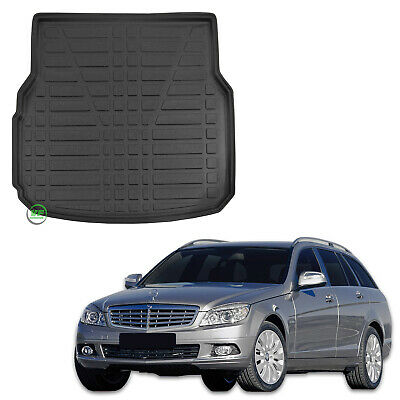 Mercedes C Class 2007-on Fully Tailored Deluxe Estate Boot Mat in Black