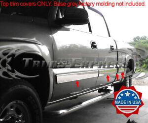 "07-13 Chevy Silverado Extended Cab Flat Chrome Body Side Molding Trim 1.5/"" 4Pc"