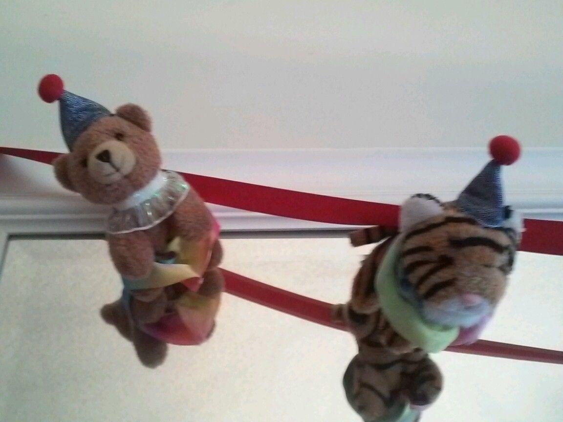 Aurora Circus Finger Puppet Decor 3Lions 2Tigesr 2Elephant 2Bear 2Clown 6'ribbon
