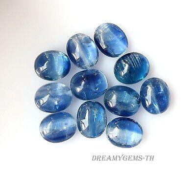 8x6 MM 16.48 CT Natural Blue Kyanite Cabochons Oval Cut Loose Gemstone Lot 10 Pcs