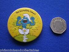 The Incredible Smurf   pin badge   1970s