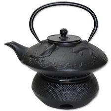 TeaPot Warmer + 24 fl oz Black Fancy Carp Fish (Koi) Japanese Cast Iron Teapot