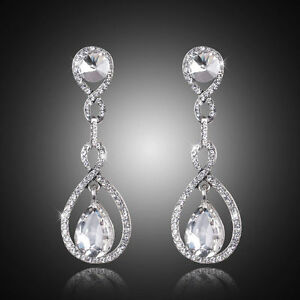 Image Is Loading Long Crystal Drop Earrings Diamante Bridal Rhinestone Silver
