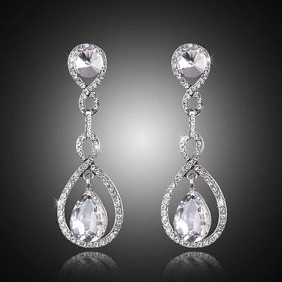 03b66987701 Long Crystal Drop Earrings Diamante Bridal Rhinestone Silver Dangle Wedding  Prom 714131836444   eBay