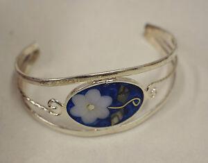 Bracelet Silver Wrist Cuff Shell Mother Pearl Flowers Red Enamel Bracelet