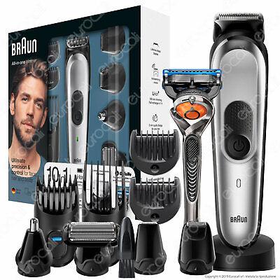 Braun MGK7020 Rasoio Barba Elettrico Rifinitore Capelli 10in1 + Gillette Fusion