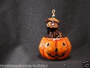 56732 Black Cat Pumpkin Jack-o-lantern Halloween Cloisonné Ornament Decoration