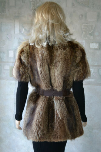 Fur Jacket M Brown Vest Real Size Sleeveless Raccoon Genuine 5qz76q