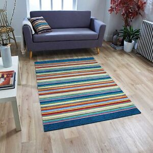 Details zu Machine Washable MODERN STRIPED BLUE MULTI Anti-Slip Kitchen  Hall Rug Runner MAT