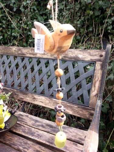 Uccelli in legno pensile caricamento campanello-mobilee Bird ARANCIONE