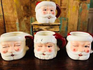 Pottery-Barn-Christmas-Mr-Claus-Santa-Mugs-Cups-Set-of-4-New-In-Box-Holiday