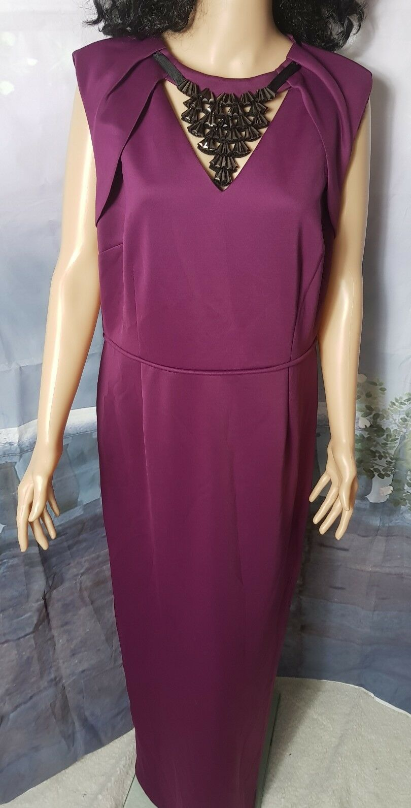 Phase Eight Deanna Embellished Full Length Maxi Dress Purple RRP