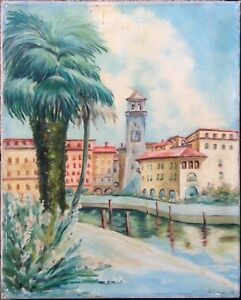 Promenade-with-the-Torre-del-look-at-Riva-del-Garda-Oil-Painting-Antique