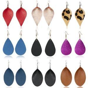 Handmade-Leather-Elegant-Women-Earrings-Leaf-Teardrop-Dangle-Stud-Hook-Jewelry