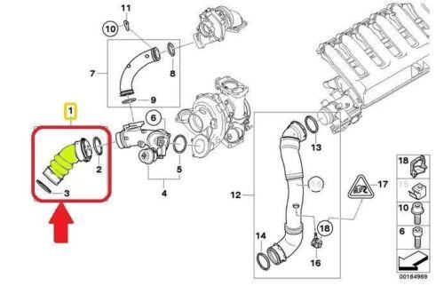 BMW 5 6 SERIES E60 E61 E63 E64 INTERCOOLER TURBO HOSE PIPE 11617796293