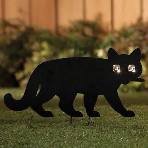 Solar eye black cat kitten metal garden lawn stake for Cat yard art