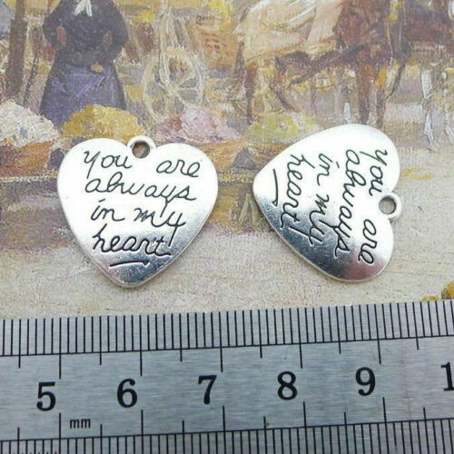 10pcs Vintage Word Charms You Are Always In My Heart Bead Pendant Jewelry DIY