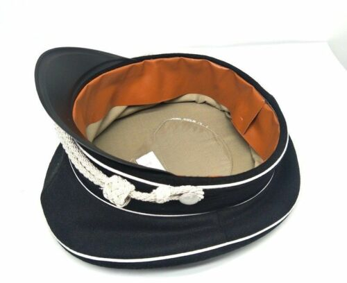 WW2 German Elite Officer Visor Hat Cap Black /& Chin Pipe silver Cord SIZE M