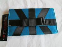 $14 Macys Mstylelab Dressy Satin & Ribbon Snap-on Wallet Purse Blue & Black