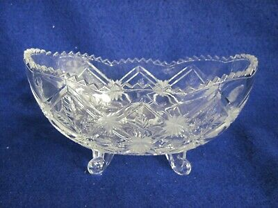 Pressed Glass EAPG Three Toed Bowl McKee Glass Small Centerpiece Footed Bowl Star Pattern Sawtooth Edged Clear Glass