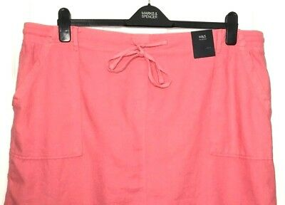 MARKS SPENCER M/&S LINEN RICH ELASTICATED WAIST MINI SKIRT PINK GOLD KHAKI UK 24