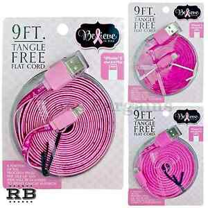 new styles a9a83 f2152 Details about 1-10 LOT PC 9 FT Long Breast Cancer Awareness iPhone 5 & 6  Flat Charging Cable