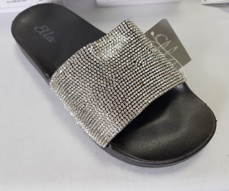 Ladies slip Ella diamonte slider sandals, slip Ladies ons, mules be75a9