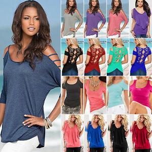 Womens-Summer-Off-Cold-Shoulder-T-Shirt-Tops-Short-Sleeve-Casual-Blouse-Tee-Top