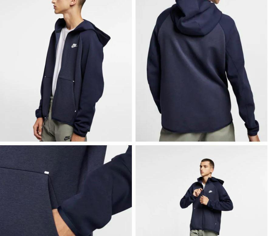 New Mens Medium Nike Tech Fleece Hoodie Jacket Dark Blue White 2 Tone 928483 473 For Sale Online