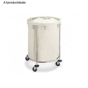 Mobile Round Clothes Laundry Wash Hamper Cart On Wheels