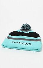 MEN'S GUYS DIAMOND SUPPLY CO OG POM BEANIE BLACK/MINT TOQUE SKI HAT NEW