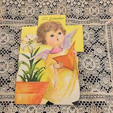 Vintage Greeting Card Easter Angel Girl Singing Flower