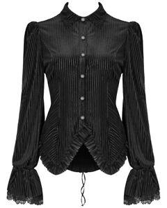 Punk-Rave-Womens-Gothic-Steampunk-Blouse-Top-Shirt-Black-Velvet-Victorian-Corset