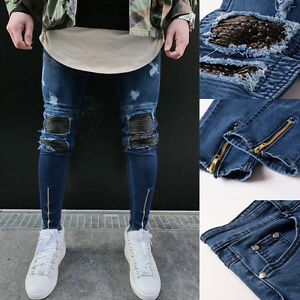 elegant-hommes-Skinny-Jeans-coupe-slim-destroy-ados-Tendance-long-pantalon