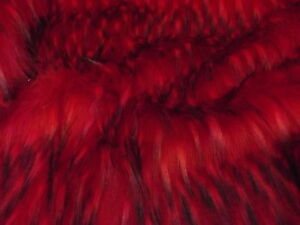 Super Luxury Faux Fur Fabric Material - LONG SCARLET & BLACK FLECK