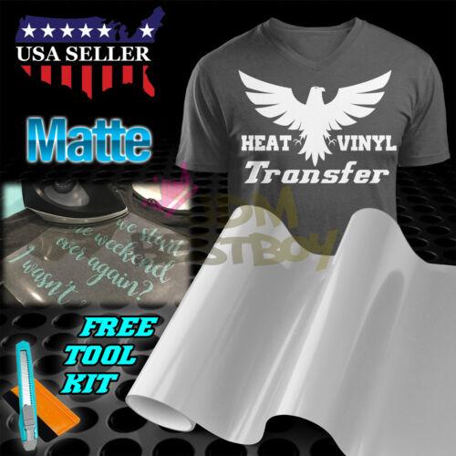 "Heat Press Matte White Heat Transfer Vinyl HTV T-Shirt 20/"" Wide Roll Iron On"