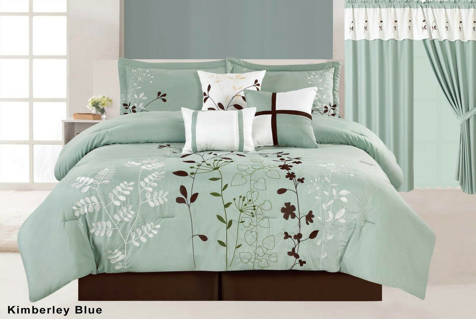 7Pc Floral Embroiderot Microfiber Comforter Set Sage Teal braun Twin - Cal King