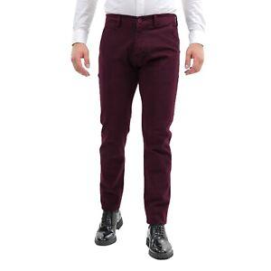 Pantaloni-Uomo-Invernali-Eleganti-Chino-Slim-Fit-Bordeaux-Cotone-Pantalone