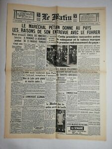 N796-La-Une-Du-Journal-Le-Matin-31-octobre-1940-marechal-Petain-Hitler
