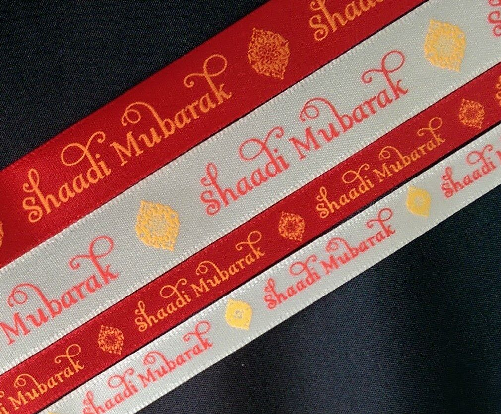 Shaadi Mubarak rot and cream printed 10 16mm satin ribbon - Asian wedding Viyah