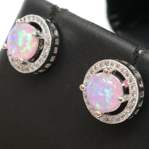 Hand Carved 1 Ct Round Cut Pink Opal Halo Stud Earrings White Gold Plated