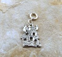 Pewter Haunted House Charm On A Silver 8mm Spring Ring - 5210