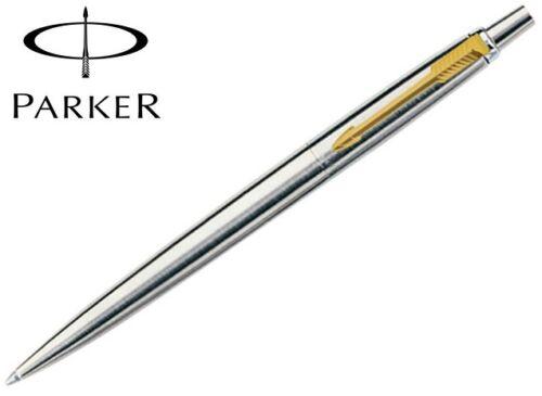 Gift Box-S0705510 Parker Jotter Ballpoint Pen Stainless Steel Gold Trim Genuine