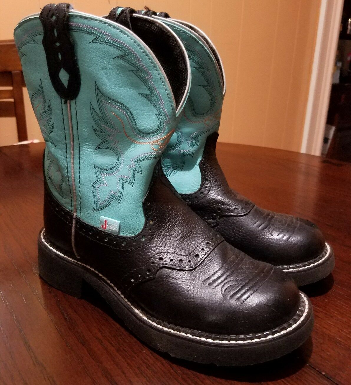 Justin Gypsy Women Black & Turquoise Leather Roper Boots Size 7 B *L9905