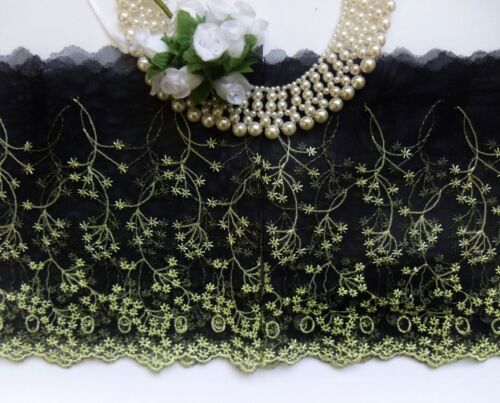 """Light Yellow Green Embroidered Flowers Net Lace Trim 6.5/"""" Black 2 Yards-T864"""