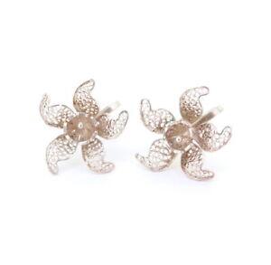 Beautiful-Sterling-Silver-Filigree-Flower-Earrings-Non-Pierced-King-of-Filigree