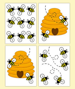 Bumble bee hive wall art decals baby girl boy nursery kids for Bumble bee mural
